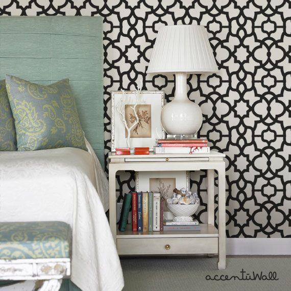 trellis black peel u0026 stick fabric wallpaper by accentuwall on etsy