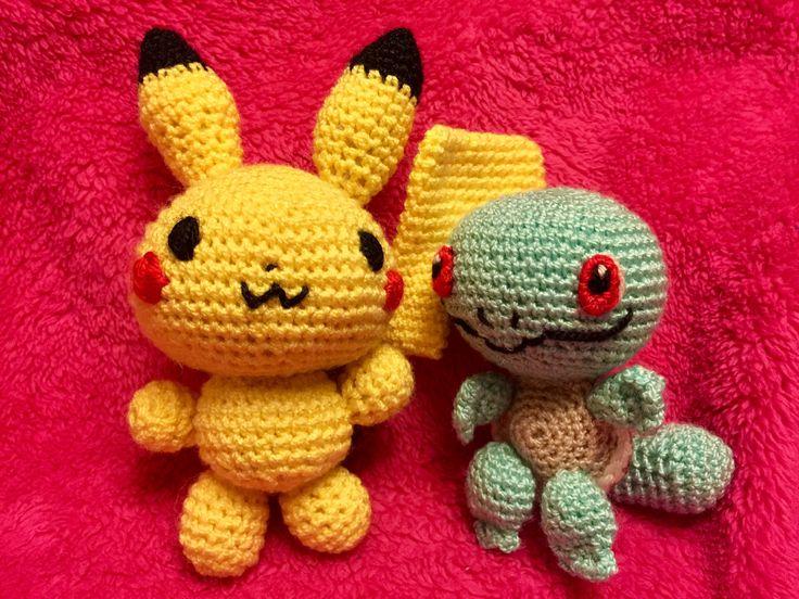 Pikachu y Squartle pokemon amigurumi para los niños!
