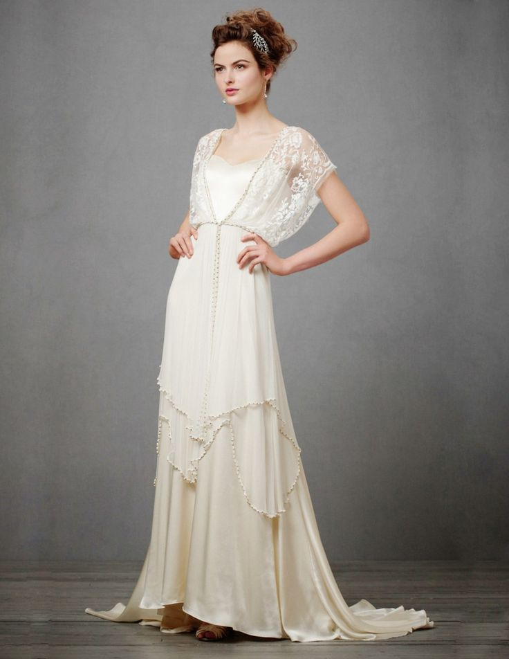 1910s Edwardian Inspired Tiered Lace Wedding Dress Victorian