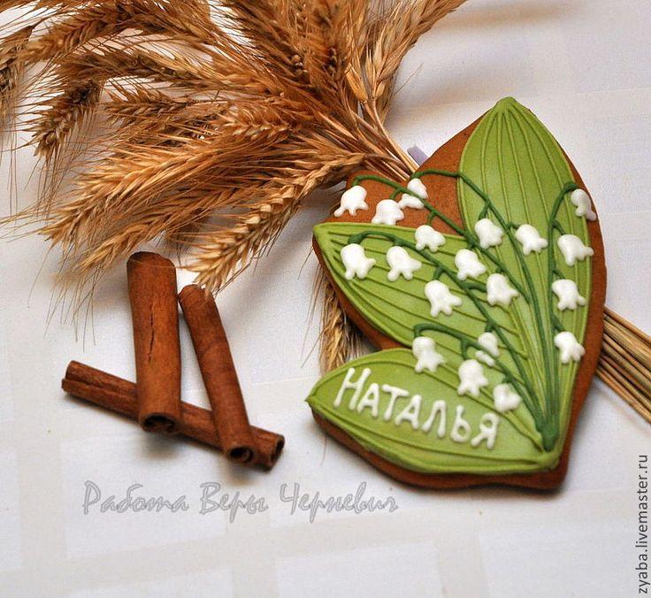 """Купить """"Нежные ландыши"""" - пряники рассадочные карточки на свадьбу - свадьба, пряник, расписные пряники"""