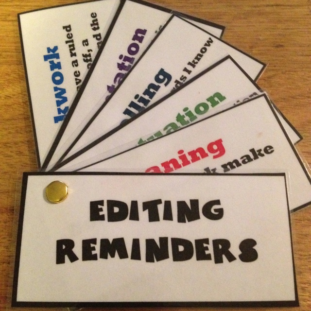 Editing prompt card..loves these may adapt using my editing checklist
