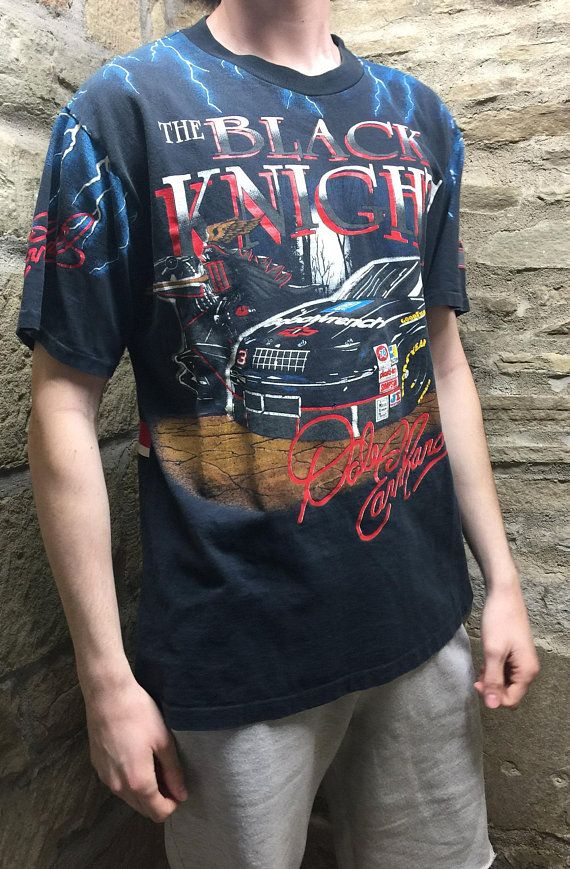 Vintage Nascar Dale Ernhardt 3 The Black Knight Black T Shirt Nascar Shirts Black Tshirt Shirts