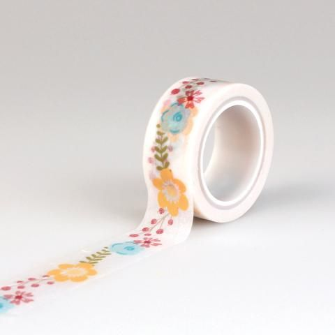 Echo Park Paper Bright Floral Decorative Washi Tape - 15 ft