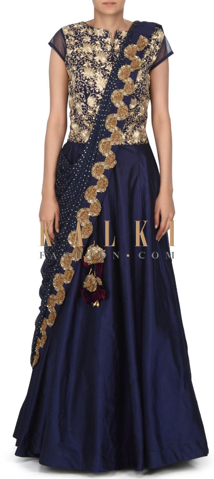Buy this Navy blue saree gown embellished in zari and sequin only on Kalki