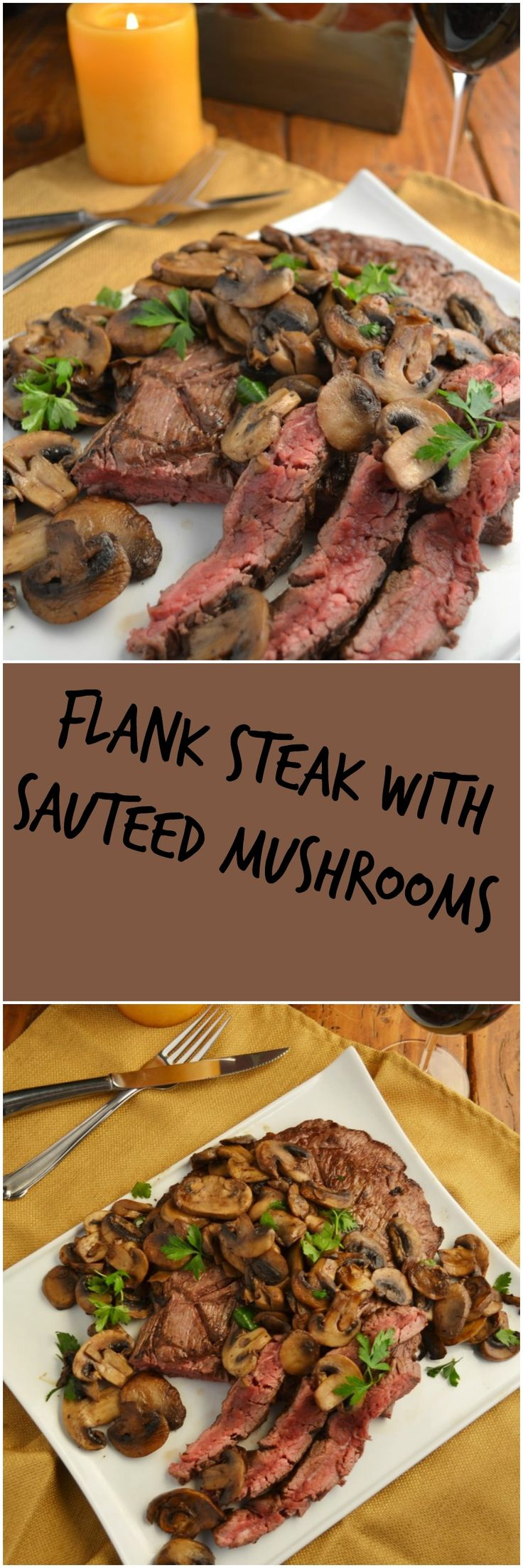 Delicious and easy Flank Steak with Sauteed Mushrooms! Yum! Find it on TheSpicyApron.com