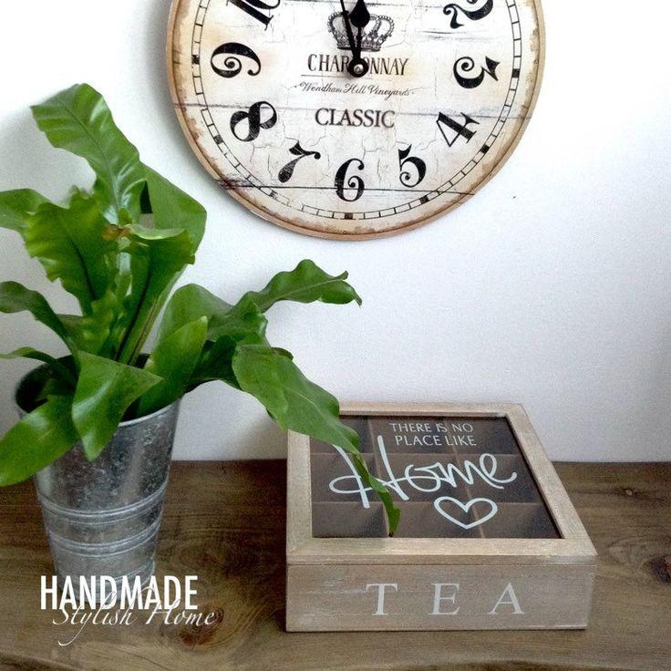 classy, wooden tea box, glass lid, there's no place like home ♥️ tea box  handmadestylishhome.etsy.com