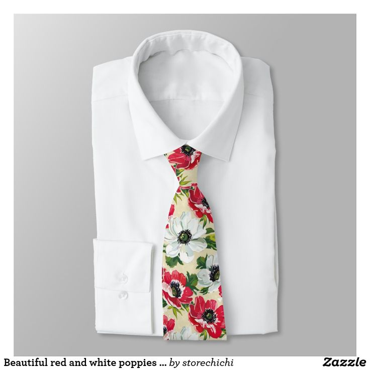 Beautiful red and white poppies on cream yellow tie