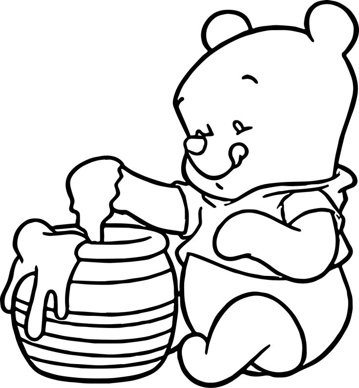 awesome Baby Pooh Honey Coloring Page | Coloring pages ...