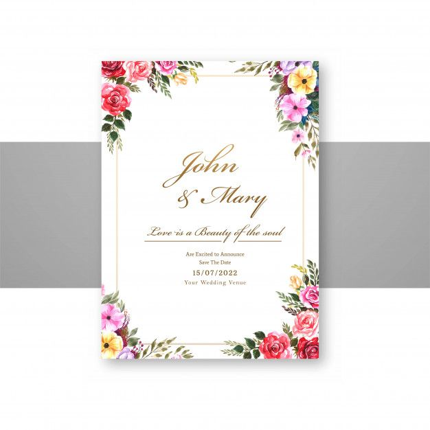 Download Wedding Flowers With Invite Invitation Card Template Design For Free In 2020 Business Cards Creative Vector Free Graphic Design Photoshop