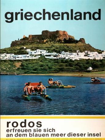 GRIECHENLAND. Rodos. 1970 ~ 1979. Erfreuen sie sich an dem blauen meer dieser insel. (Ευχαριστηθείτε την γαλάζια θάλασσα του νησιού αυτού).