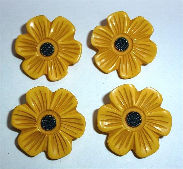 Yellow Black Vintage Bakelite Flower Buttons