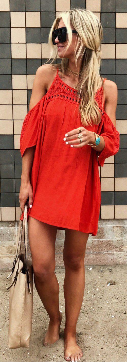 #summer #outfits  Red Cold Shoulder Dress + Beige Leather Tote Bag
