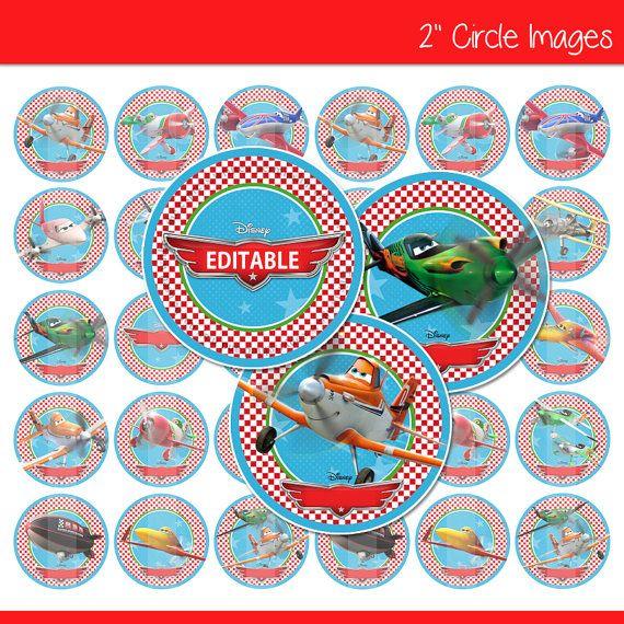 Bearbeitbare Disney Flugzeuge 152 Kreis Bilder von NettasBottleCaps, $2.50