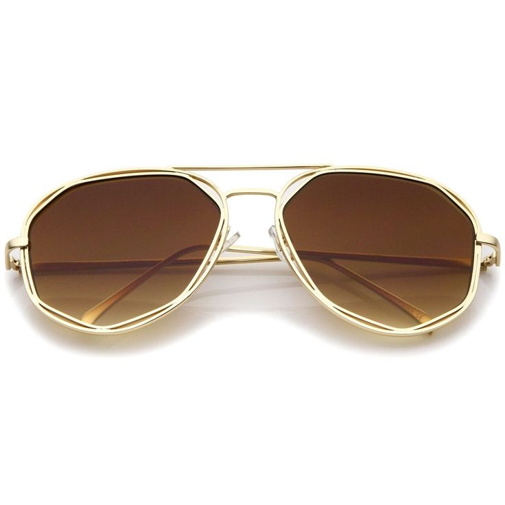 Geometric Hexagonal Metal Frame Neutral Colored Flat Lens Aviator Sunglasses 60mm