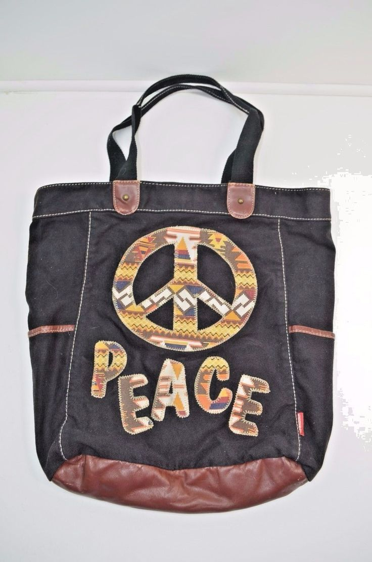 16.23$  Buy now - http://vihmw.justgood.pw/vig/item.php?t=ivu6cy2836 - Peace Black Canvas Brown Southwestern Tote Bag Book Purse