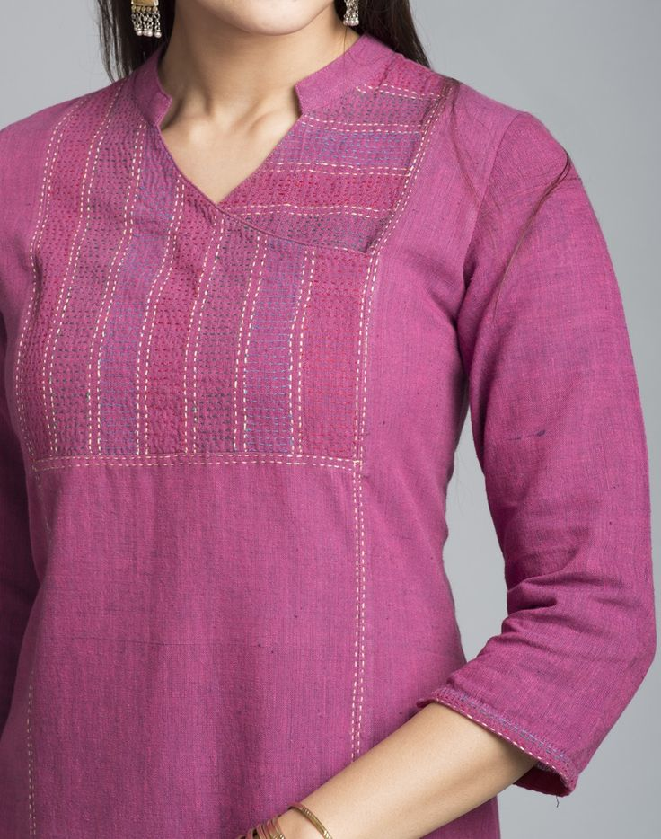 Look stunning in this kurta made using cotton khadi fabric. This kurta features hand embroidery on yoke. Pair it with our range of churidars to create your own style.   Cotton Khadi Yoke Embroidery Chinese Collar V Neck 3Q Sleeves Hand Wash Separately in Cold Water
