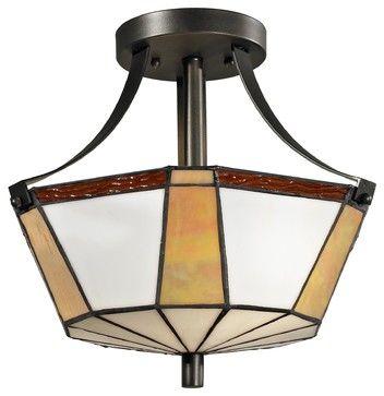 Dale Tiffany TH12405 Visalia Transitional Semi Flush Mount Ceiling Light - transitional - Ceiling Lighting - Arcadian Home & Lighting
