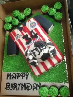 Chivas soccer team Jersey. My sister asked me to make this for my brother in laws birthday, everything on the cake is edible. I'm glad they all enjoyed it and he was very happy with it. It was a red velvet cake and the ball was made out of rice krispies