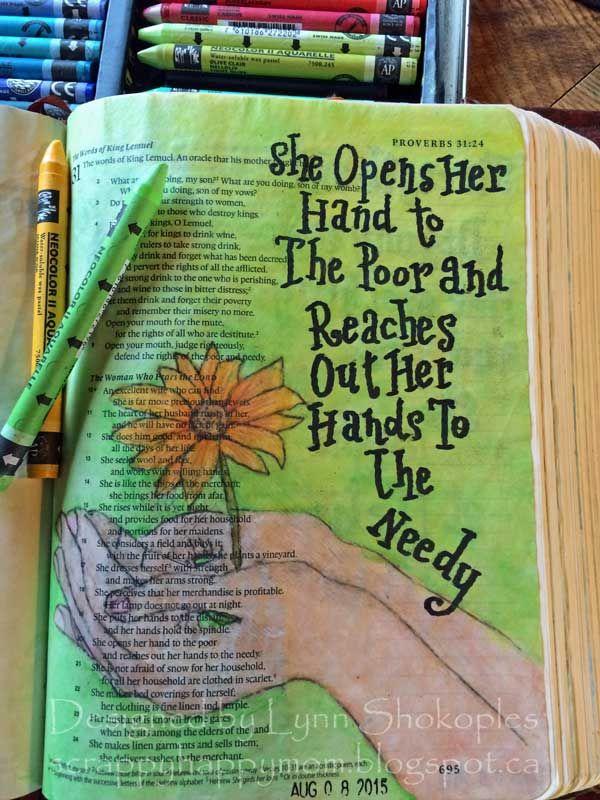 Proverbs 31 20 Bible Journal Page by Lynn Shokoples