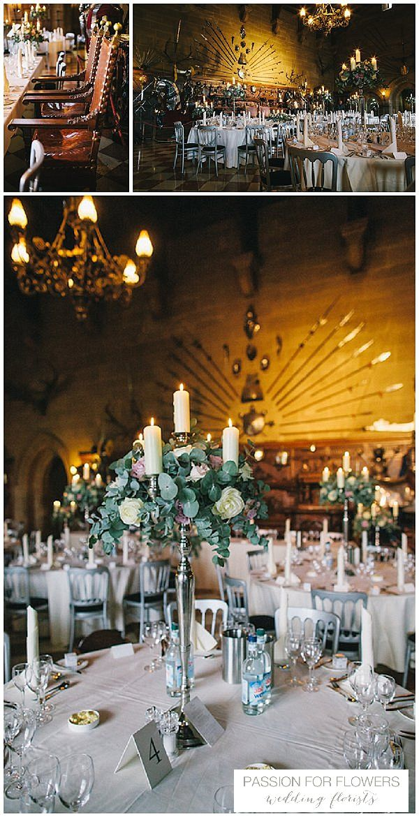 wedding reception venues north yorkshire%0A Passion for Flowers enjoy creating Warwick Castle Wedding Flowers  This  grand wedding venue suits tall centrepieces  we love candelabra for the  castle