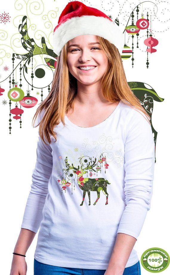 Christmas Gift, Gift for her, Christmas blouse, Christmas deer T-shirts, Christmas Gift for Boyfriend, Christmas Gift Ideas, lady's shirt