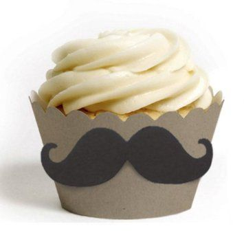Kraft cupcake wrapper with moustache from Dress My Cupcake.
