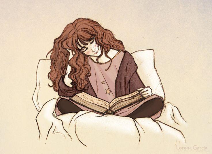 Hermione Reading before Bed by Lincevioleta.deviantart.com on @deviantART