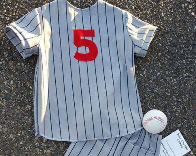 Boy Baseball Uniform/Gray w/Navy Pinstripe Baseball Uniform,Sportswear, Boys Baseball Photo Prop/1st Birthday/Mascott/MYSWEETCHICKAPEA