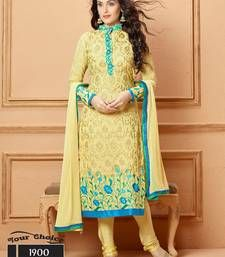 Buy Yellow embroidered chiffon semi stitched salwar with dupatta party-wear-salwar-kameez online