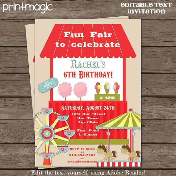 instant download circus carnival fun fair party invitation