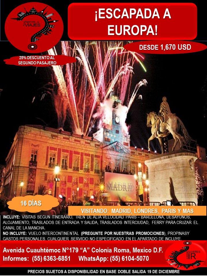 ESCAPADA A EUROPA  Llámanos al 6363-6851 escríbenos al correo: buzon@romaagenciadeviajes.com o Visitamos en: Avenida Cuauhtemoc 179 A Colonia Roma CDMX de Lunes a Viernes de 10 am a 19 hrs y sábados y domingos de 11 hrs a 15 hrs (Cerramos puentes y días festivos) También puedes visitar la pagina web: www.romaagenciadeviajes.com donde pulsando el botón de BOLETOS podrás reservar en linea las 24 hrs del día Boletos Aéreos, Hoteles y Paquetes y aprovechar los meses sin intereses con las…