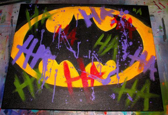 Batman Logo w/ Joker Graffiti by MattPaintsStuff on Etsy, $24.99