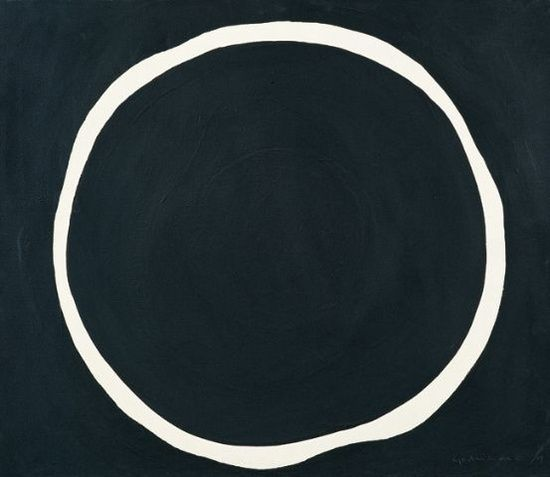 """Jirō Yoshihara was a Japanese painter. In 1954, he co-founded the avant-garde Gutai group in Osaka. He worked in surrealist and abstract expressionist painting styles before turning, in his final years, to the repeated depiction of circles reminiscent of """"satori,"""" the enlightenment of Zen. This white circle was made by leaving the canvas unpainted while painting the background black."""