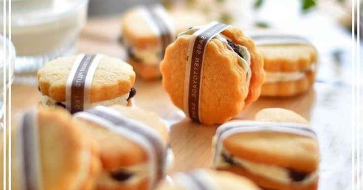 サクサクの生地にラムレーズンバターをサンドした美味しいクッキー。 (バタークリームをこちらに追加しました)