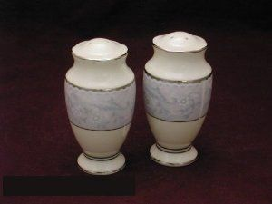 Noritake Montebello #7605 Salt & Pepper by Noritake China. $11.60. Dimensions: N\A. Brand New - First Quality. Salt & Pepper - Floral Design Om Rim - Platinum Trim - Made In The Philippines