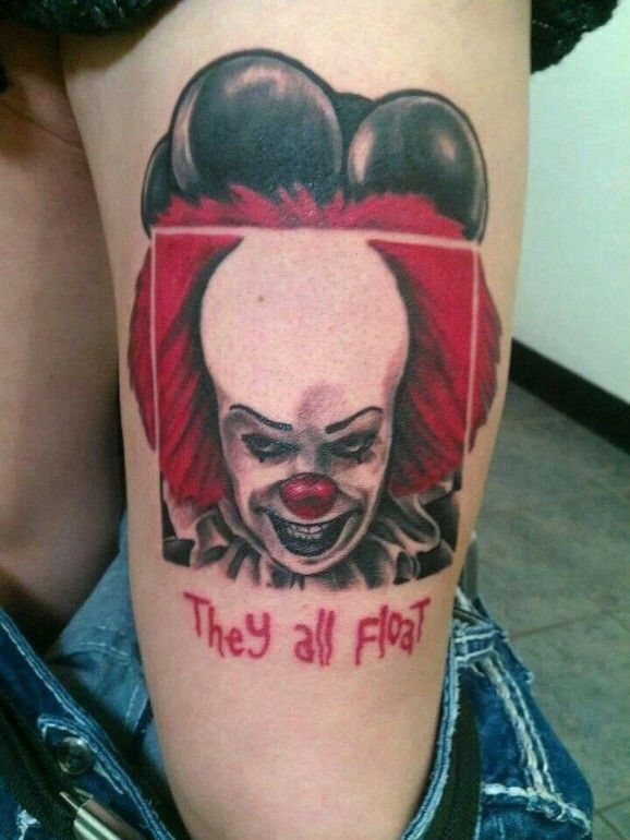 """29 Pennywise From Stephen King's """"It"""" Tattoos For Halloween! Tattoo Tuesday   """"Don't tell my mom I got this tattoo. She's a huge Krusty The Klown fan."""""""