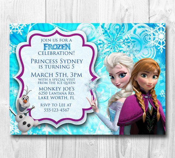 frozen birthday invitation  queen elsa  princess anna