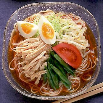 蒸しどりサラダそうめん | 石原洋子さんの棒々鶏・蒸しどりの料理レシピ | プロの簡単料理レシピはレタスクラブニュース