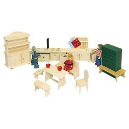 Rulke 17 Pc Wooden Doll House Furniture Set