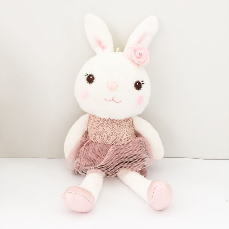 Extra cute blush peachy pink Metoo bunnies.Pink bunny measures approximately 37cm tall, 30cm without ears.