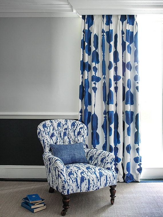 Bespoke Curtains Ink Blue Green or Grey Lined Curtains