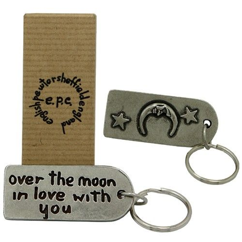 Over the Moon Pewter Keyring  from www.personalisedweddinggifts.co.uk :: ONLY £19.99