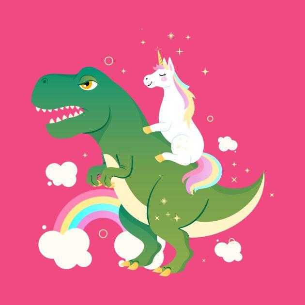 957c21066a1 Unicorn Riding On Dinosaur  unicorn  dino  dinosaur  trex  tshirt ...