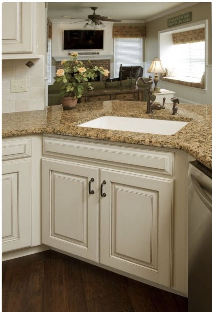 Pin By Bonnie Menard On For The Home Antique White Kitchen Kitchen Renovation Antique White Kitchen Cabinets