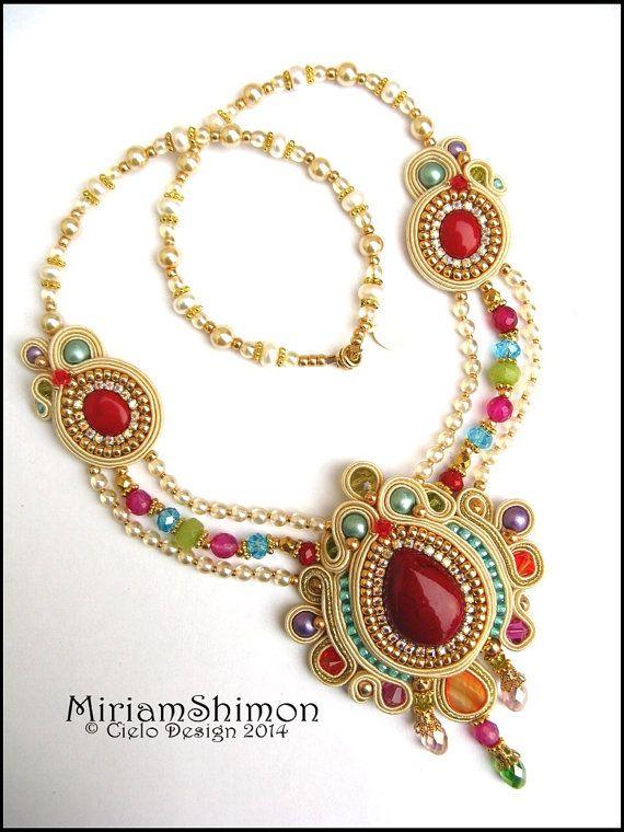 Cream, Gold and Multi colored Soutache necklace