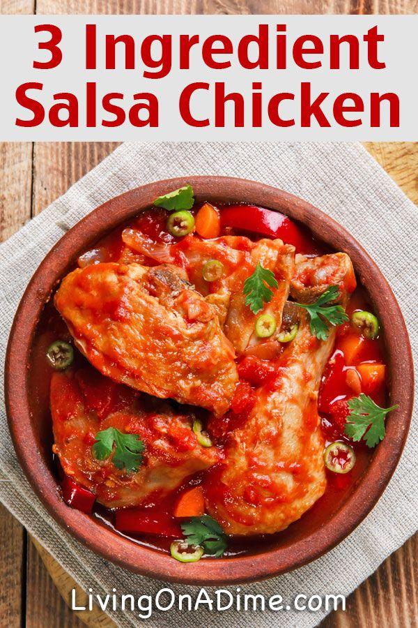 3-Ingredient salsa chicken in a crockpot