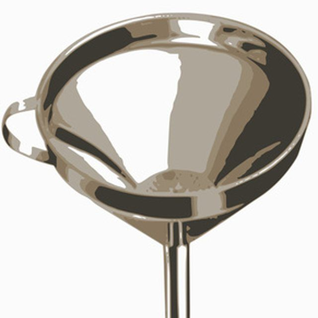 Use a funnel to fill your salon chair with hydraulic fluid.