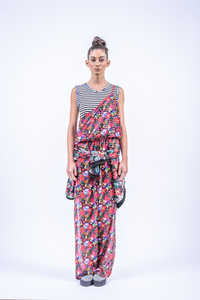 Romani Design, ss17, wanderers of the worlds, roma, gypsy, stripes, striped, floral, print, rose, roses, fashion, flower, flowers, outfit, spring, summer, spagheti, straps, stripe, stripes, overal
