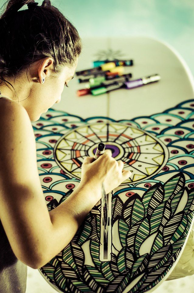 Amazing hand drawn surf board design. I want to do this- I feel like so many boards are lacking in style/ taste/ design-coolness I wish I knew what the actual image source was for this!