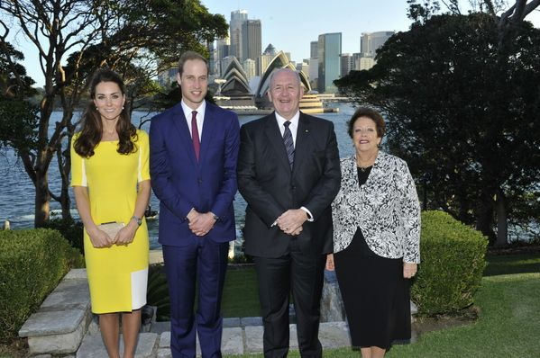 whatekatewore:  Cambridge Royal Tour-Day 8, Sydney, Australia, April 16, 2014-The Cambridges were their hosts Governor-General Sir Peter Cosgrove and his wife Lynne Cosgrove; the couple will stay at Admiralty House.